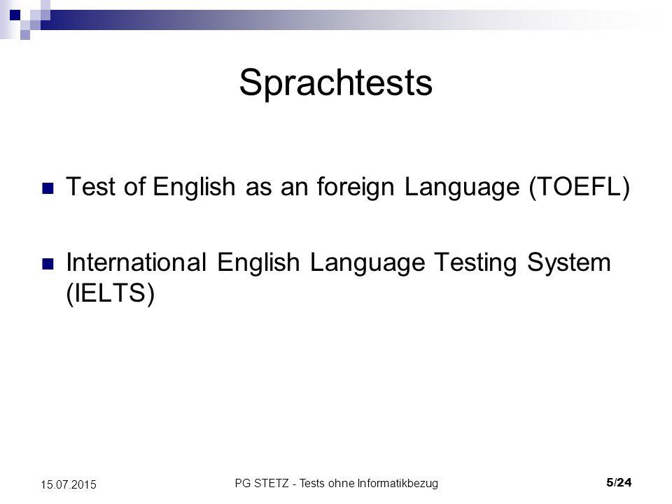 PG STETZ - Tests ohne Informatikbezug