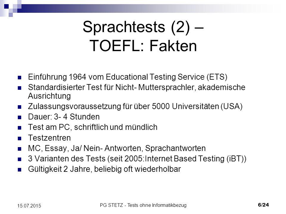 Sprachtests (2) – TOEFL: Fakten