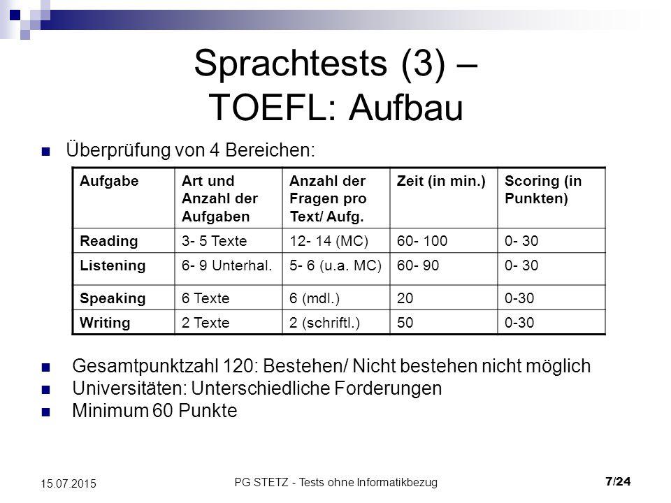 Sprachtests (3) – TOEFL: Aufbau