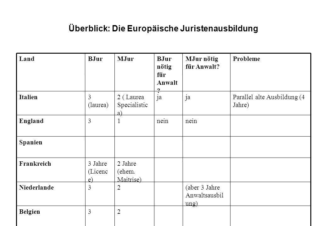 Überblick: Die Europäische Juristenausbildung