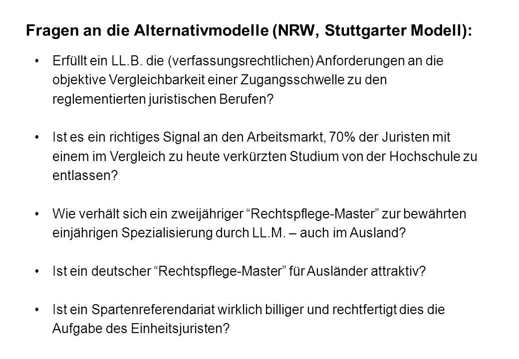 Fragen an die Alternativmodelle (NRW, Stuttgarter Modell):