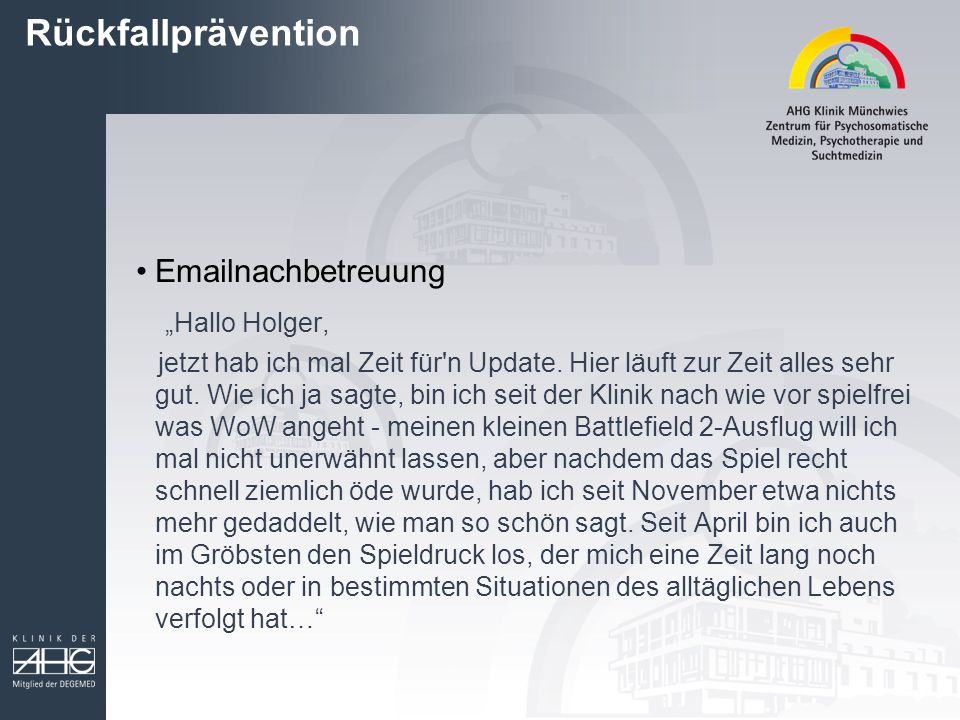 """Rückfallprävention """"Hallo Holger, Emailnachbetreuung"""