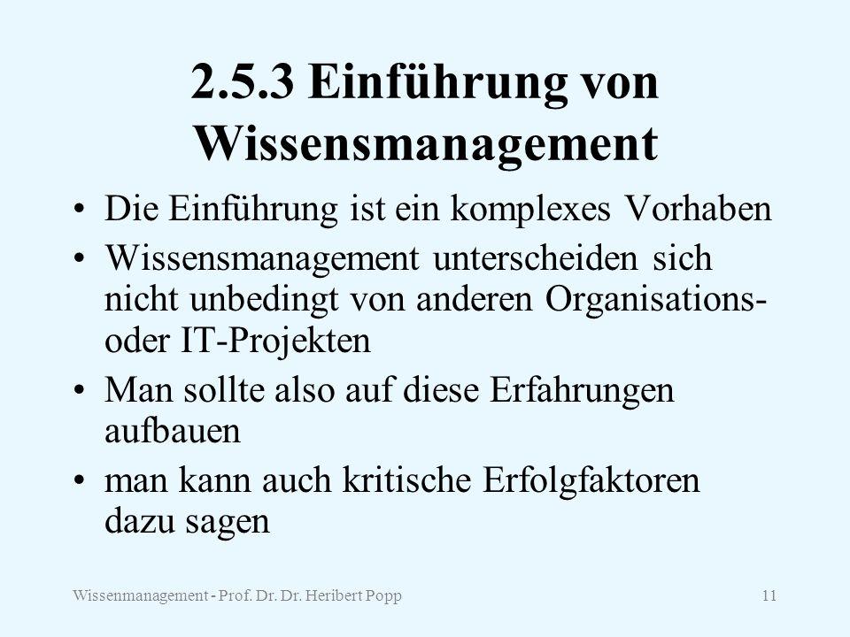 2.5.3 Einführung von Wissensmanagement