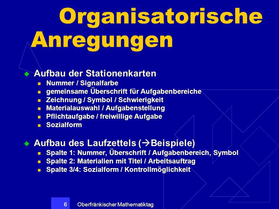 Organisatorische Anregungen