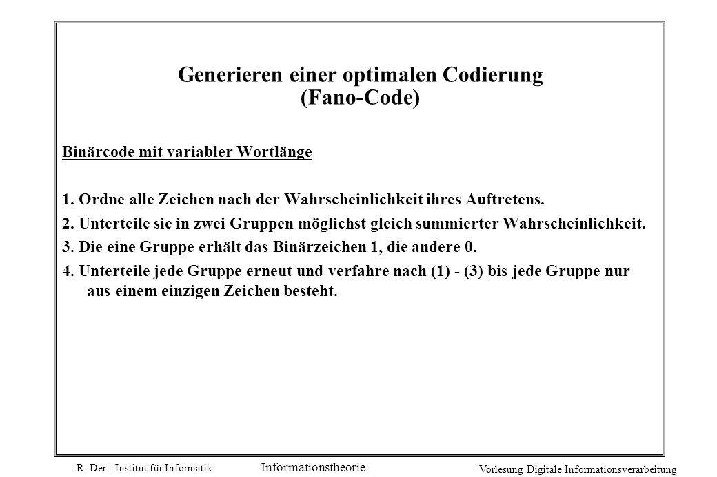 Generieren einer optimalen Codierung (Fano-Code)