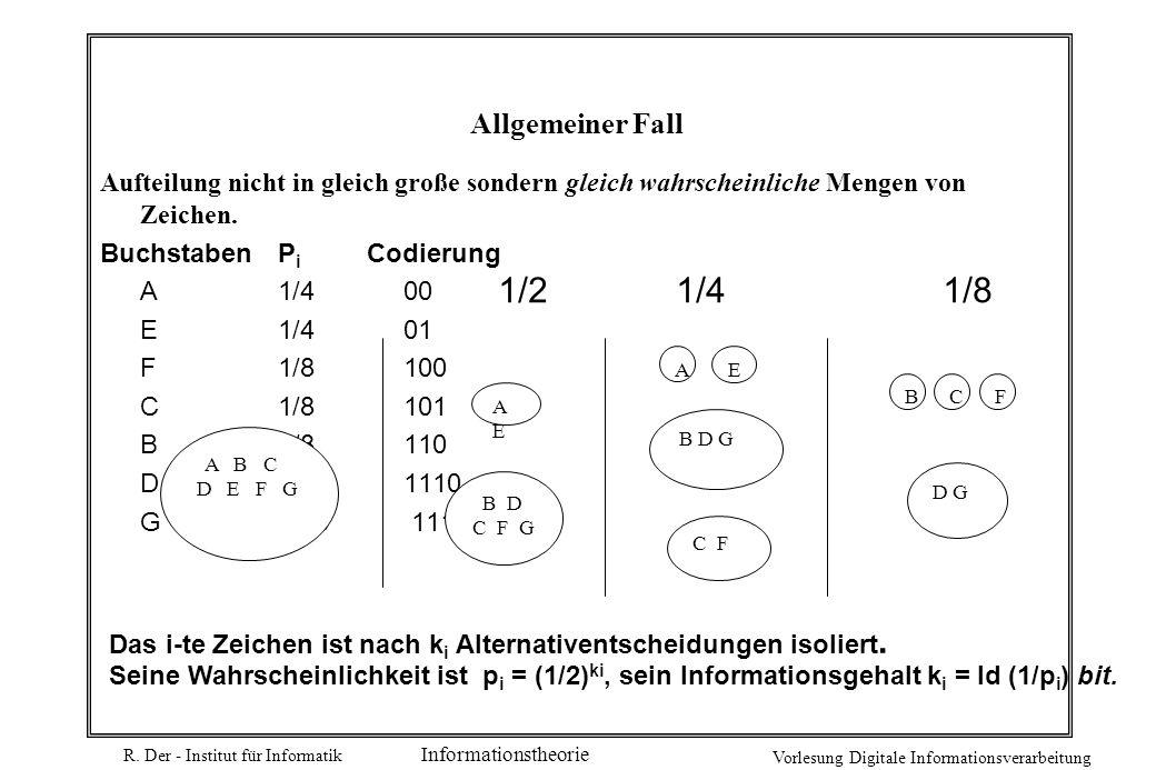 Allgemeiner Fall Aufteilung nicht in gleich große sondern gleich wahrscheinliche Mengen von Zeichen.