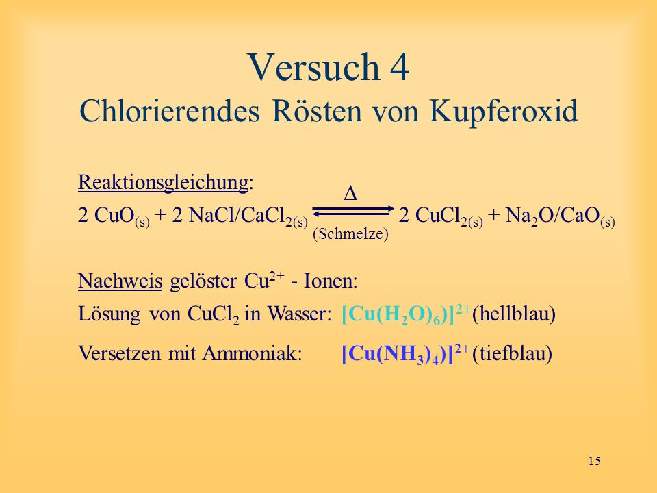 Versuch 4 Chlorierendes Rösten von Kupferoxid