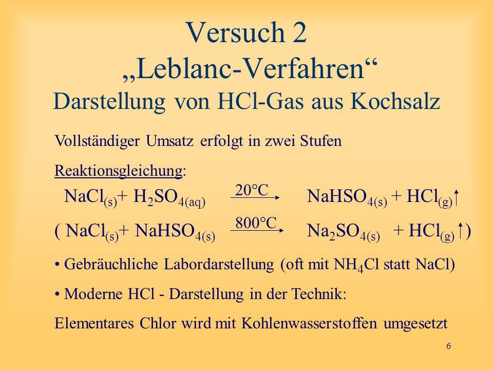 """Versuch 2 """"Leblanc-Verfahren Darstellung von HCl-Gas aus Kochsalz"""