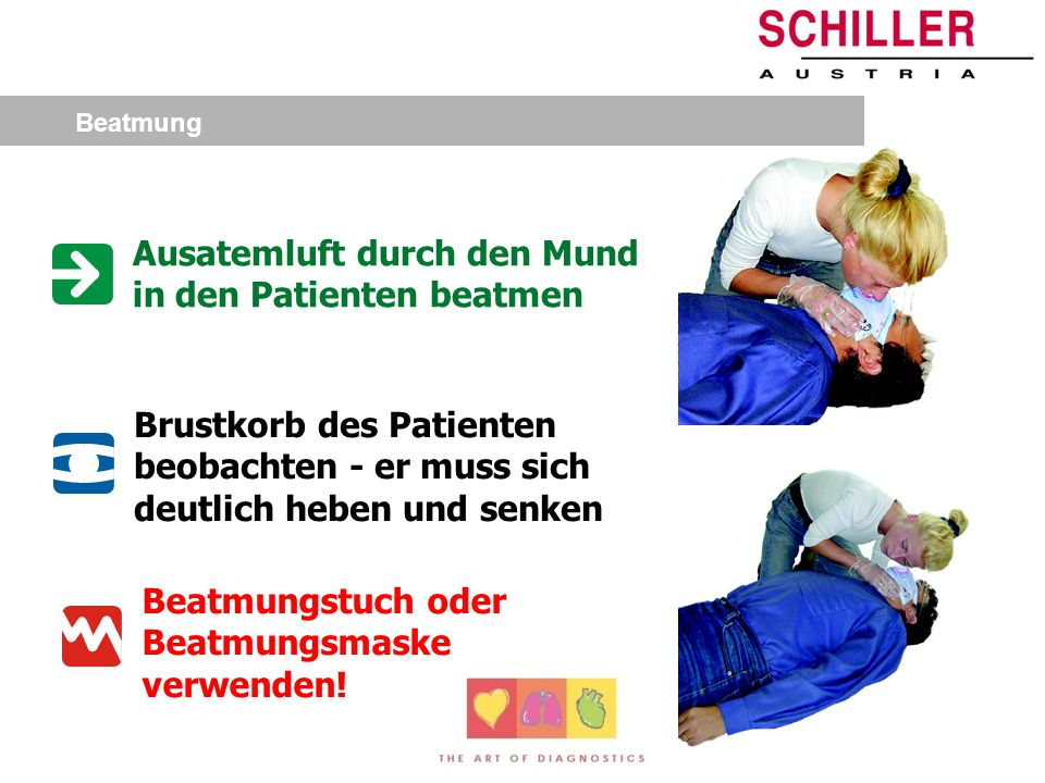 Ausatemluft durch den Mund in den Patienten beatmen