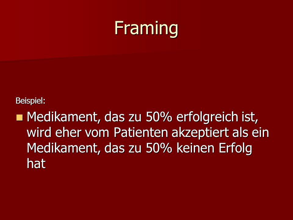 Framing Beispiel: Medikament, das zu 50% erfolgreich ist, wird eher vom Patienten akzeptiert als ein Medikament, das zu 50% keinen Erfolg hat.
