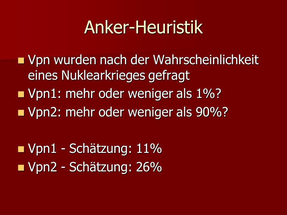 Anker-Heuristik Vpn wurden nach der Wahrscheinlichkeit eines Nuklearkrieges gefragt. Vpn1: mehr oder weniger als 1%