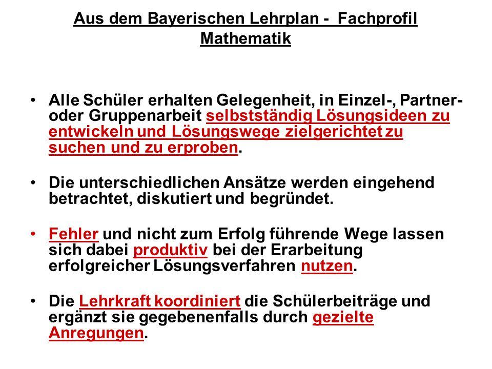 Aus dem Bayerischen Lehrplan - Fachprofil Mathematik