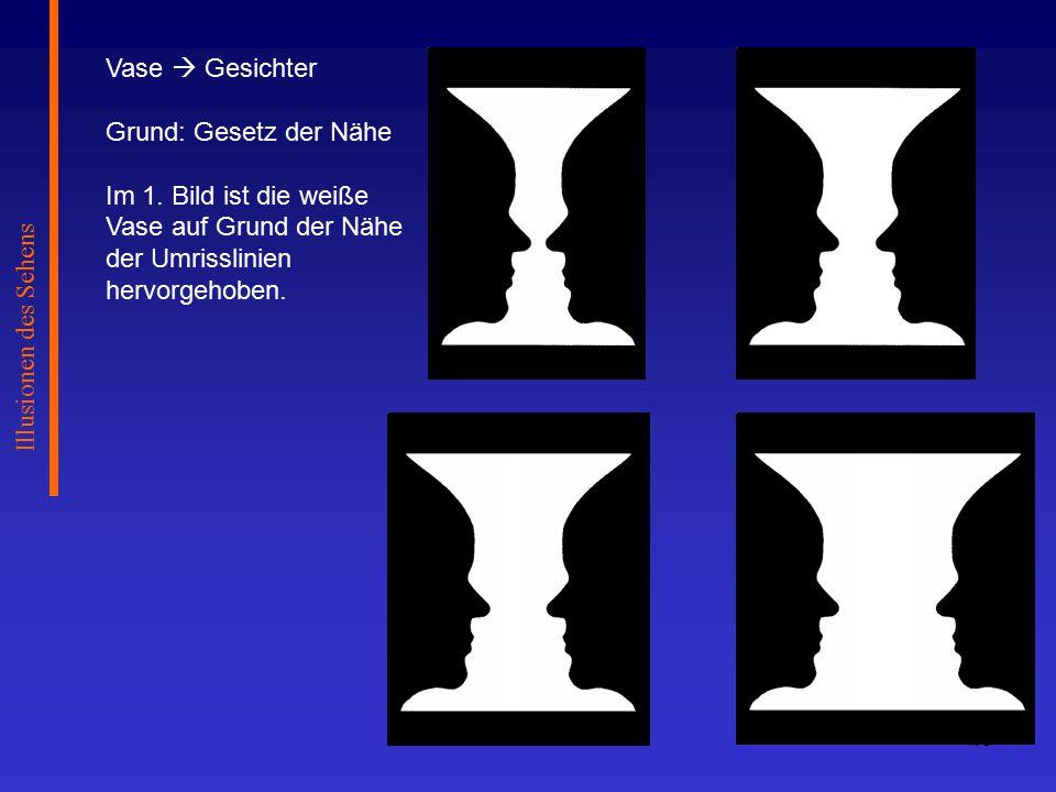 Illusionen des Sehens Vase  Gesichter. Grund: Gesetz der Nähe.
