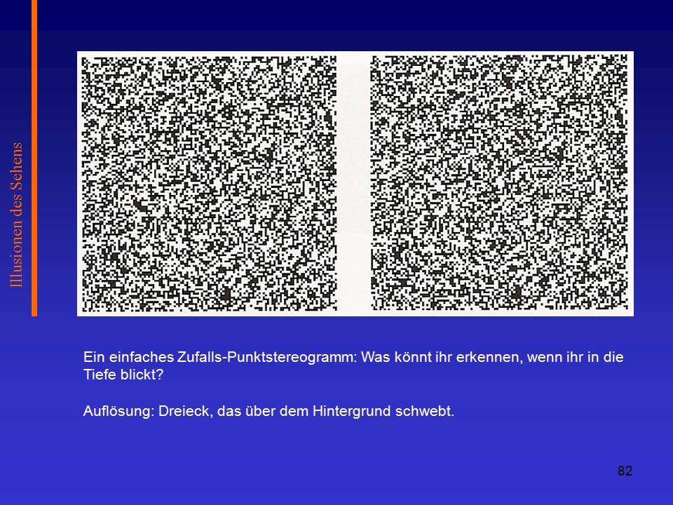 Illusionen des Sehens Ein einfaches Zufalls-Punktstereogramm: Was könnt ihr erkennen, wenn ihr in die Tiefe blickt
