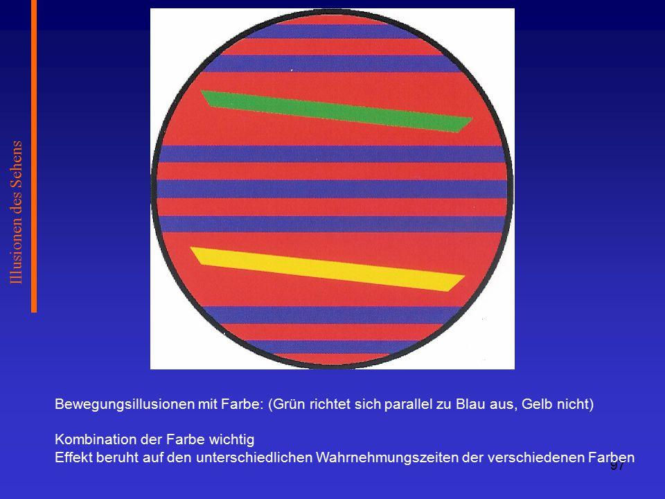 Illusionen des Sehens Bewegungsillusionen mit Farbe: (Grün richtet sich parallel zu Blau aus, Gelb nicht)