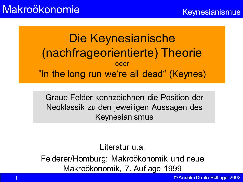 Die Keynesianische (nachfrageorientierte) Theorie oder In the long run we're all dead (Keynes)