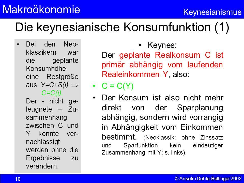 Die keynesianische Konsumfunktion (1)
