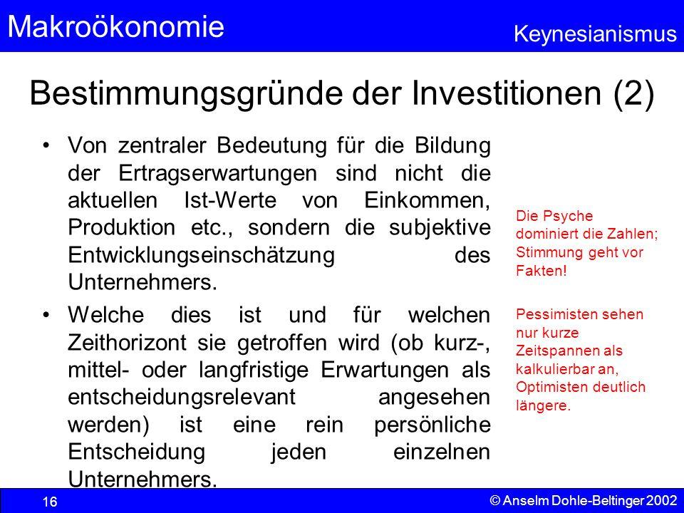 Bestimmungsgründe der Investitionen (2)