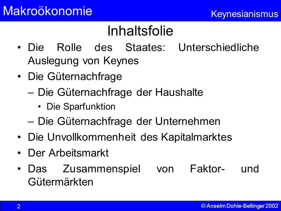 Inhaltsfolie Die Rolle des Staates: Unterschiedliche Auslegung von Keynes. Die Güternachfrage. Die Güternachfrage der Haushalte.