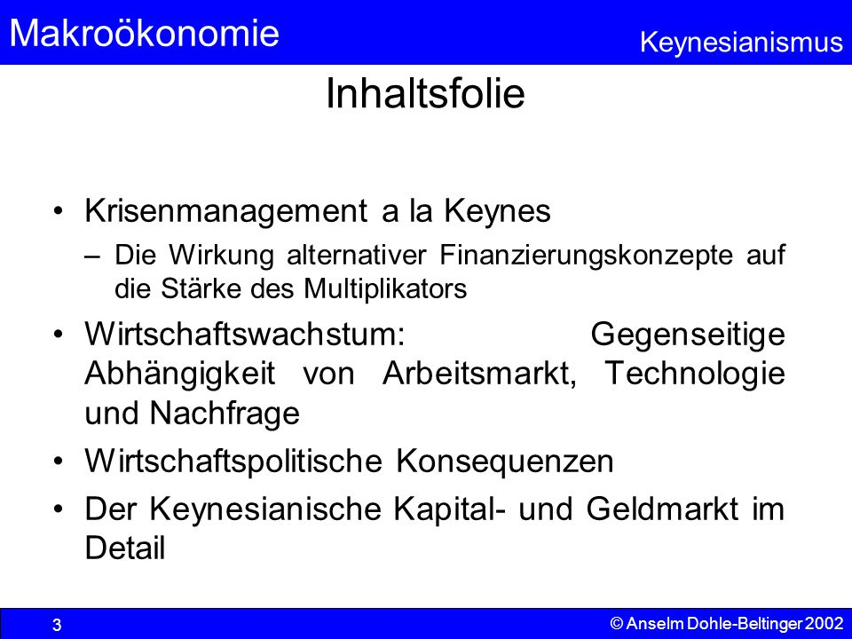 Inhaltsfolie Krisenmanagement a la Keynes
