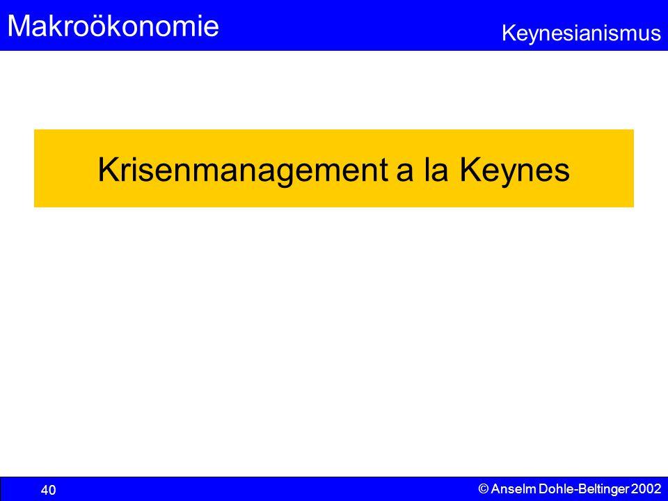 Krisenmanagement a la Keynes