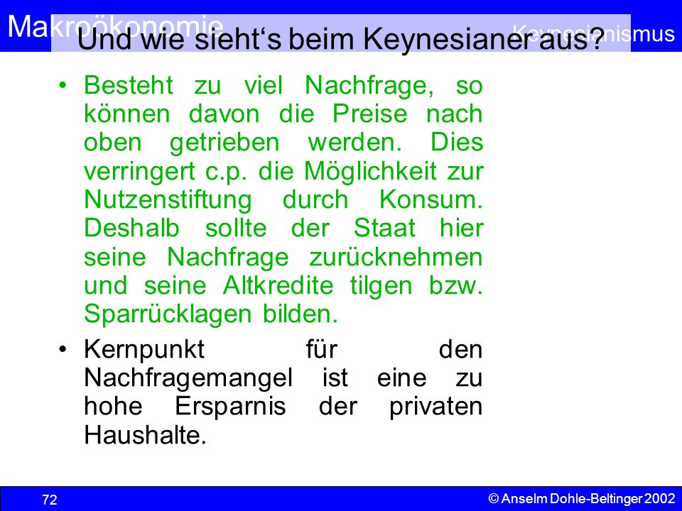 Und wie sieht's beim Keynesianer aus