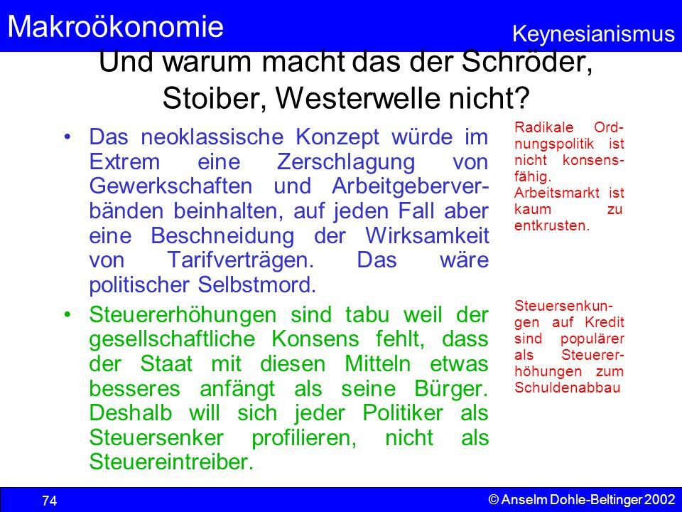 Und warum macht das der Schröder, Stoiber, Westerwelle nicht