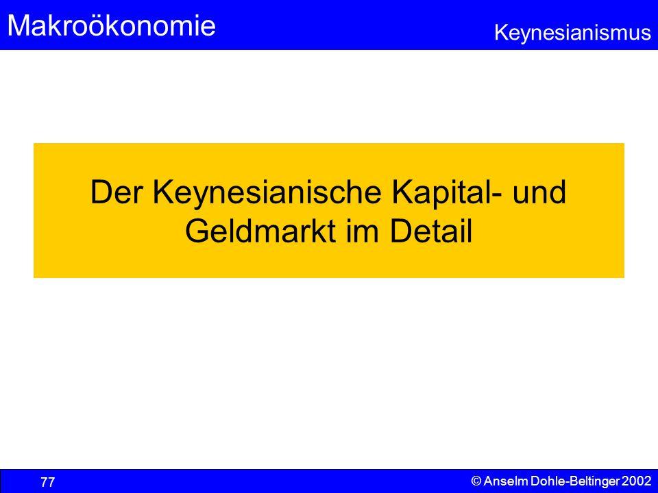 Der Keynesianische Kapital- und Geldmarkt im Detail