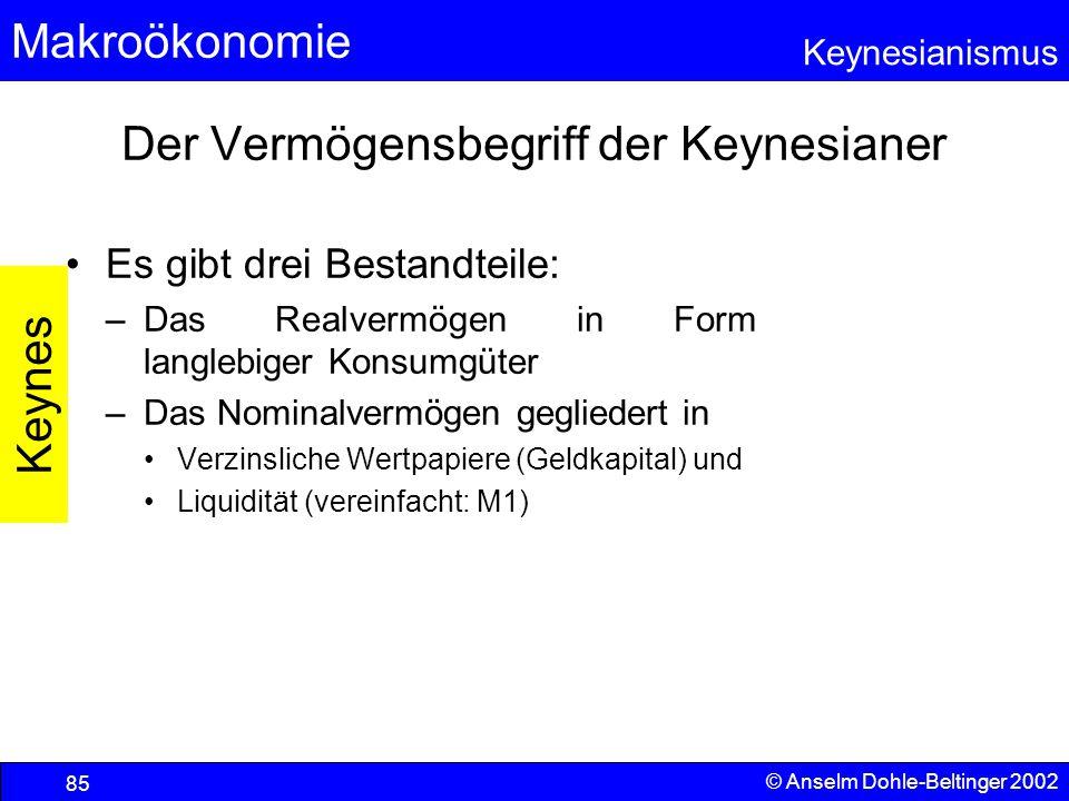 Der Vermögensbegriff der Keynesianer