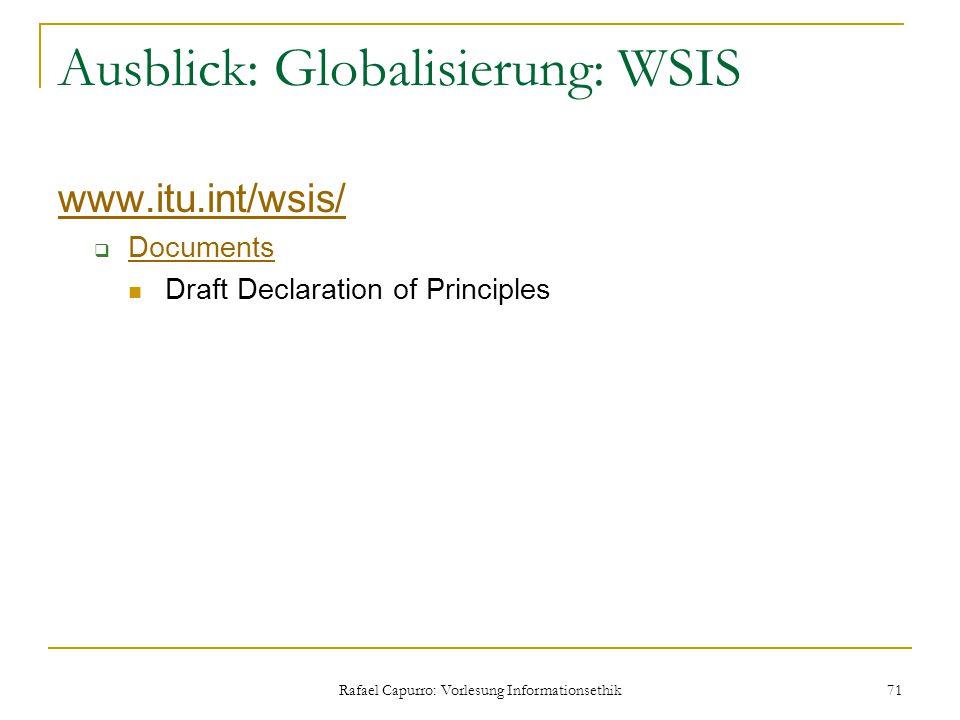 Ausblick: Globalisierung: WSIS