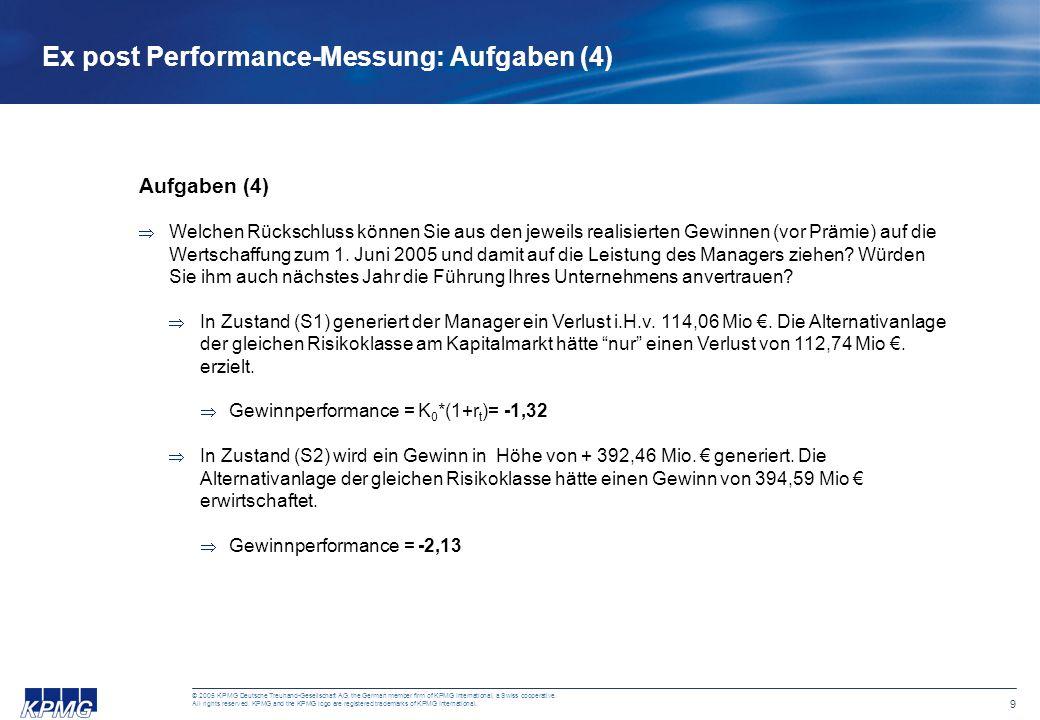 Ex post Performance-Messung: Aufgaben (4)