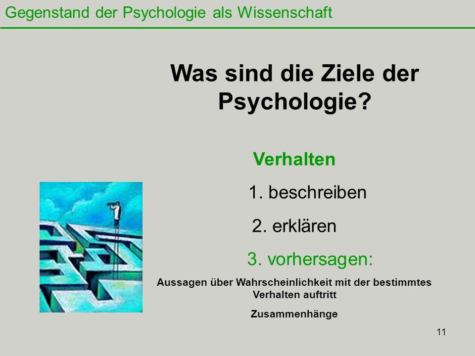 Was sind die Ziele der Psychologie