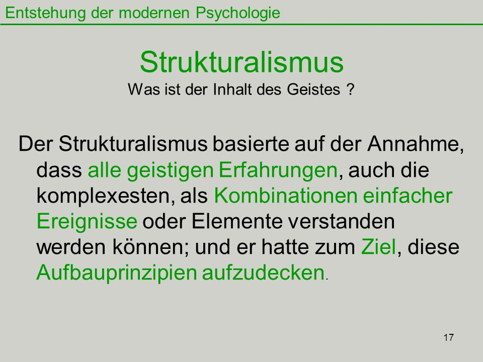 Strukturalismus Was ist der Inhalt des Geistes