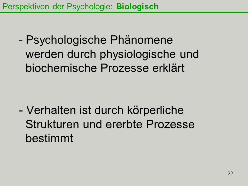 Perspektiven der Psychologie: Biologisch