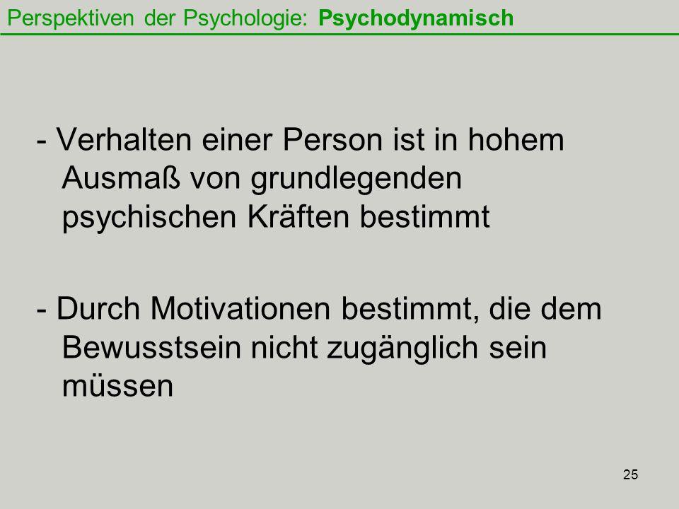 Perspektiven der Psychologie: Psychodynamisch
