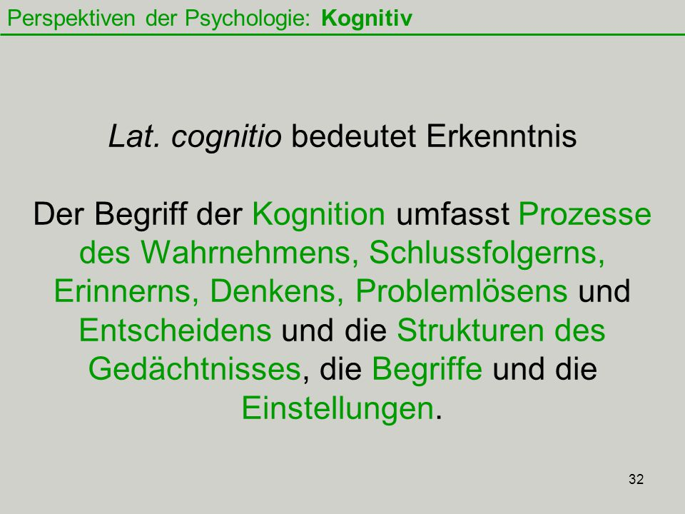 Perspektiven der Psychologie: Kognitiv
