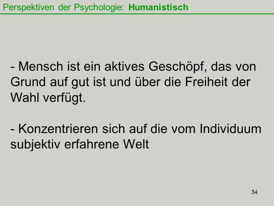 Perspektiven der Psychologie: Humanistisch