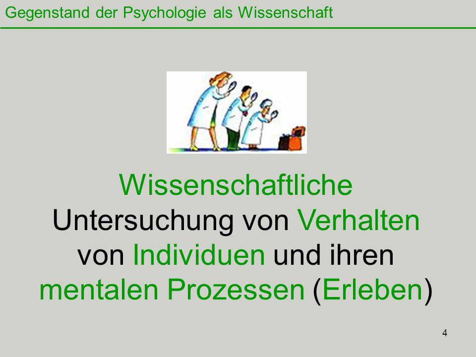 Gegenstand der Psychologie als Wissenschaft