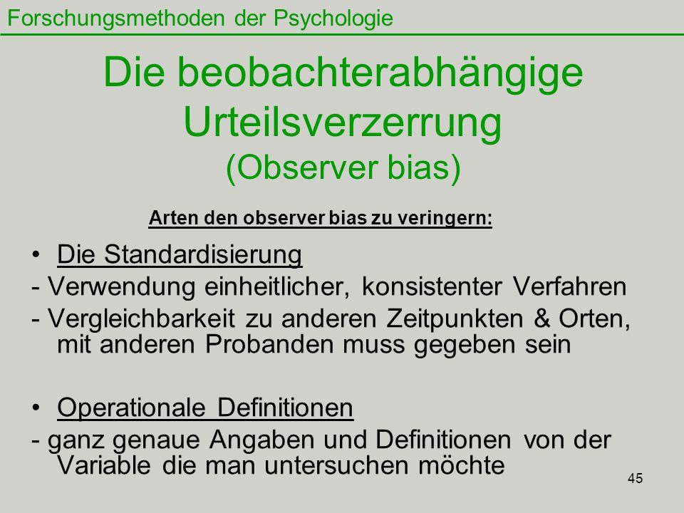 Die beobachterabhängige Urteilsverzerrung (Observer bias)