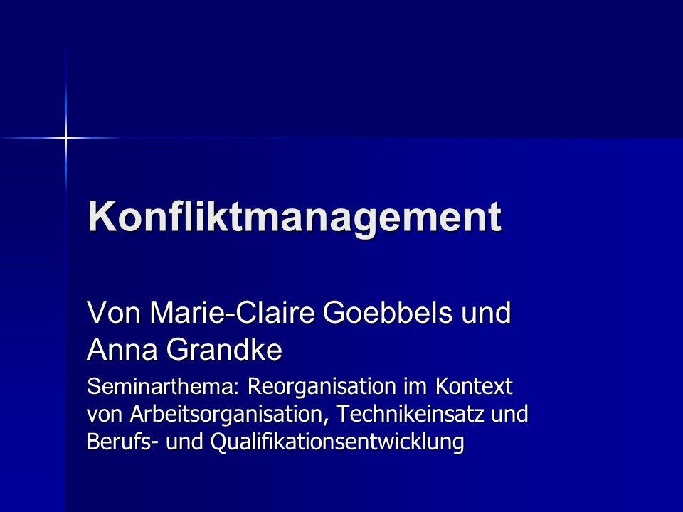 Konfliktmanagement Von Marie-Claire Goebbels und Anna Grandke