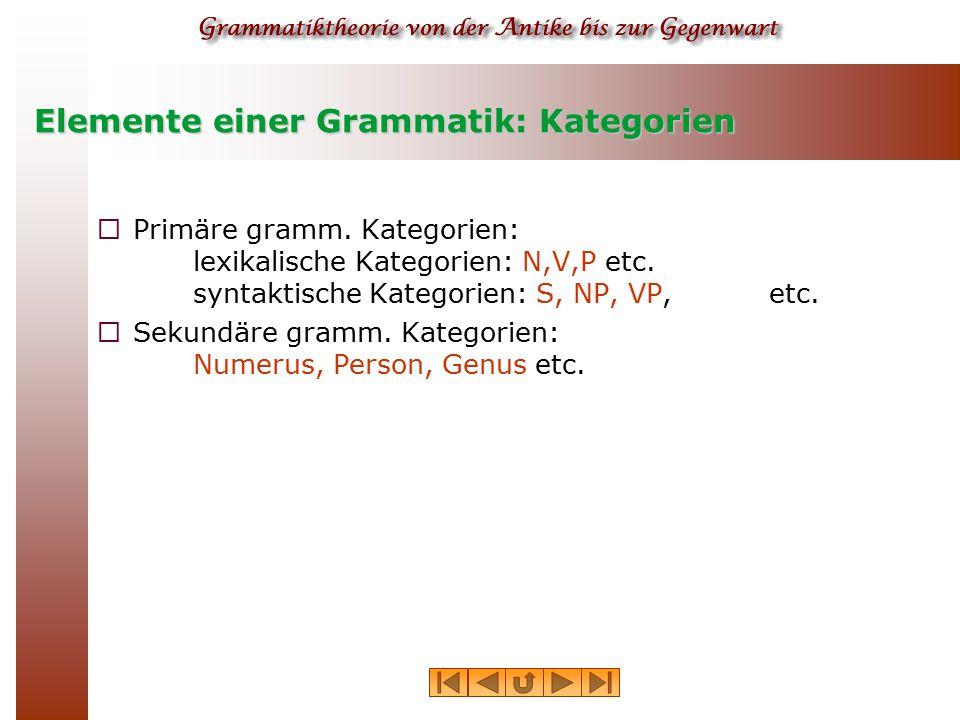 Elemente einer Grammatik: Kategorien