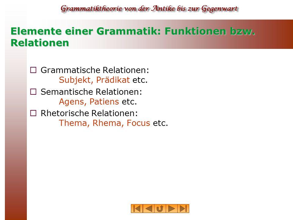 Elemente einer Grammatik: Funktionen bzw. Relationen