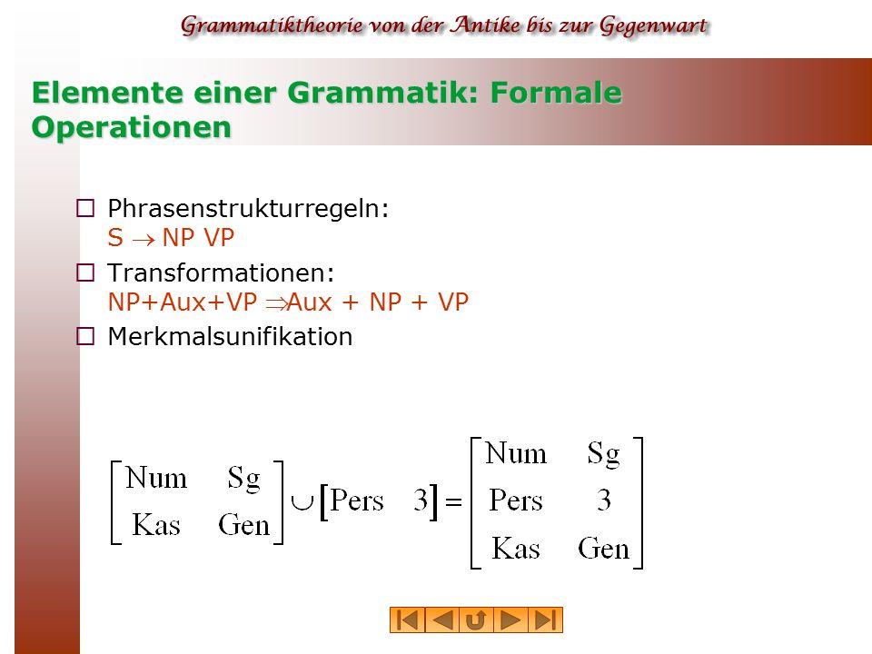 Elemente einer Grammatik: Formale Operationen