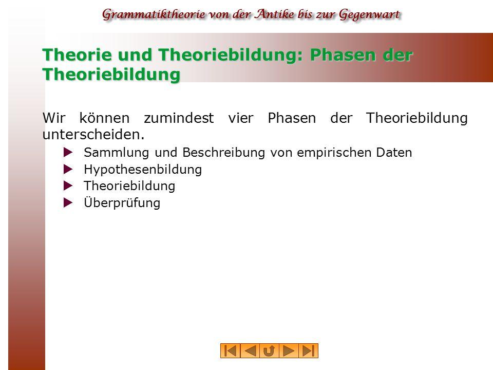 Theorie und Theoriebildung: Phasen der Theoriebildung