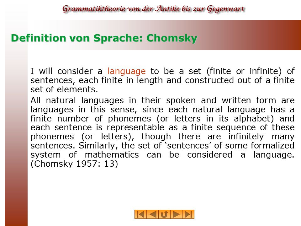 Definition von Sprache: Chomsky