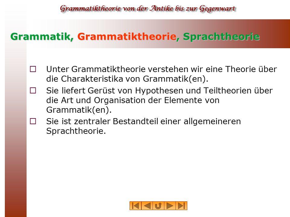 Grammatik, Grammatiktheorie, Sprachtheorie