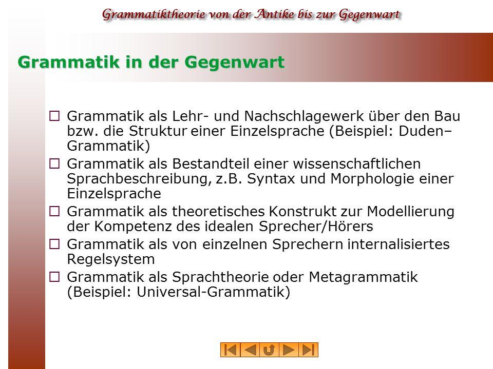 Grammatik in der Gegenwart