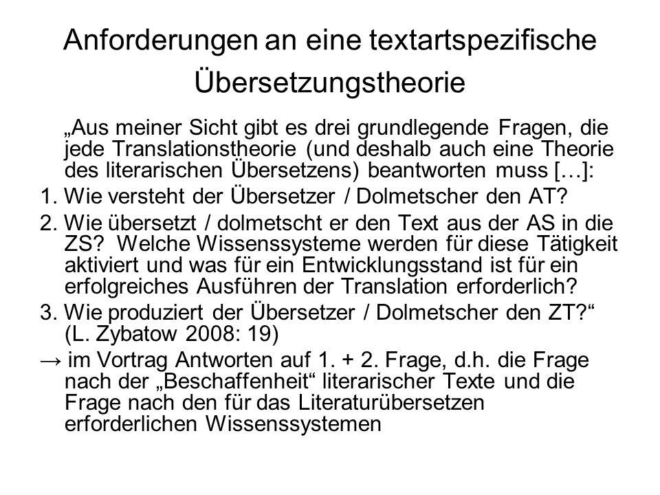 Anforderungen an eine textartspezifische Übersetzungstheorie