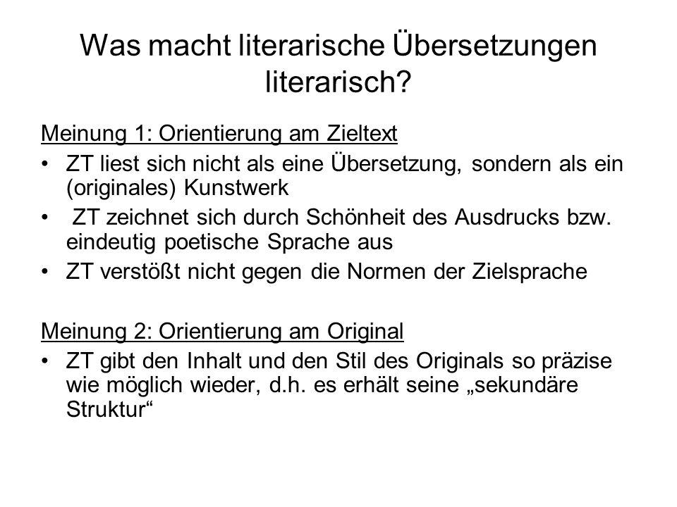 Was macht literarische Übersetzungen literarisch