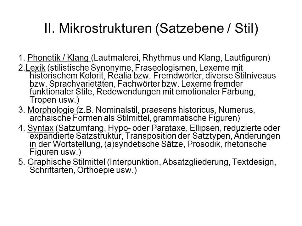 II. Mikrostrukturen (Satzebene / Stil)